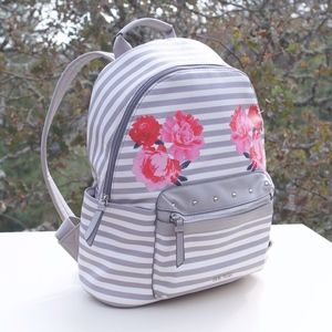 Nine West Gray Stripe Pink Rose Peony Backpack Bag